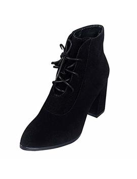 Sunyastor Clearance Women High Heeled Lace Up Boot,Fashion Casual Shoes Pointed Toe Martin Boots Suede Ankle Boots by Sunyastor Shoes
