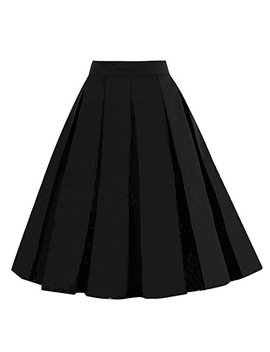 Girstunm Women's Pleated Vintage Skirt Floral Print A Line Midi Skirts With Pockets by Girstunm