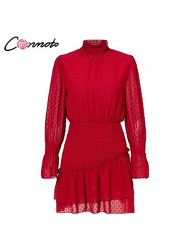 Conmoto Turtleneck Polka Dot Flounce Dress Women Long Sleeve Polka Dot Retro Dress Red Party Casual Ruched Dresses Vestidos by Conmoto