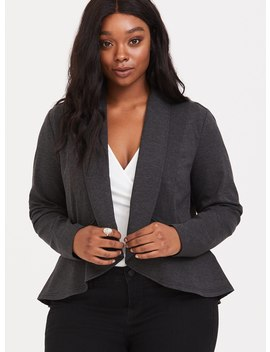 Grey Military Ruffle Ponte Blazer by Torrid