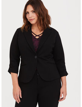 Black Soho Ponte Stretch Blazer by Torrid