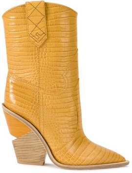 Crocodile Embossed Ankle Boots by Fendi