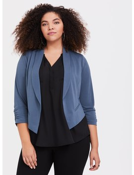 Teal Stretch Crepe Blazer by Torrid