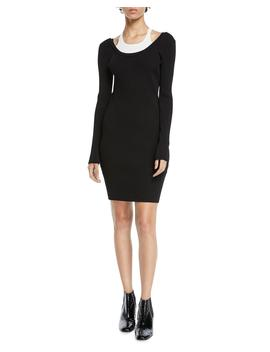 Fitted Long Sleeve Layered Viscose Short Dress by T By Alexander Wang