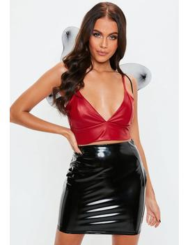Red Pu Cupped Bralet by Missguided