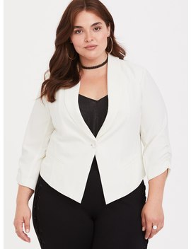 White Stretch Crepe Blazer by Torrid
