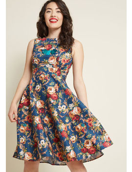 Twirl Back In Time Fit And Flare Dress In Floral by Modcloth