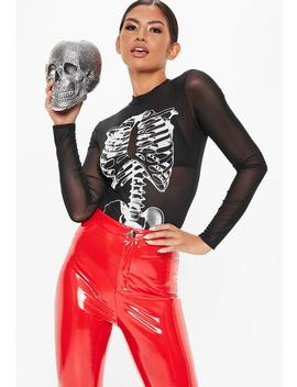 Tall Black Skeleton Mesh Bodysuit by Missguided