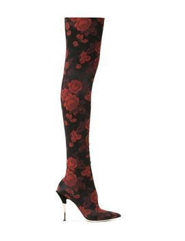 Rose Jacquard Over The Knee Boots by Dolce & Gabbana