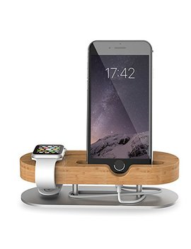 Apple Watch Stand, Universal 2 In 1 I Phone Stand/Iwatch Stands, M Zvul Bamboo Wood Charging Dock Station Cradle Holder For I Phone 7 7 Plus & Apple Watch I Watch Series 1 (38mm 42mm) by M Zvul