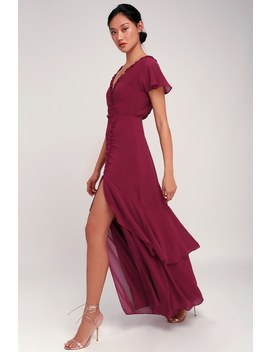 Pour The Champagne Burgundy Ruffled Backless Maxi Dress by Lulus