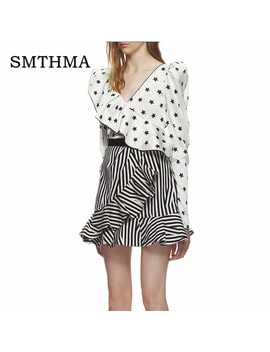 Smthma 2018 High Quality Luxury Runway Self Portrait  Womens Two Piece Set Star Printed Ruffle Blouse+Black Stripe Skirt Set  by Smthma