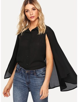 Button Up Cloak Sleeve Collar Top by Shein