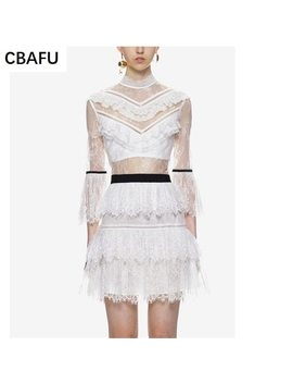 Cbafu High Quality 2017 New White Self Portrait Dress Women See Theough Sexy Flare Sleeve Lace Dress Short Cake Dress X265 by Cbafu