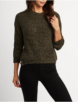 Chenille Crew Neck Pullover Sweater by Charlotte Russe