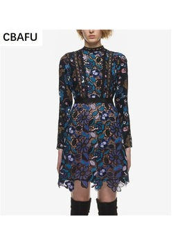 Cbafu Women New Arrival Autumn Sexy Long Sleeve 2017 Self Portrait Lace Dress X012 by Cbafu