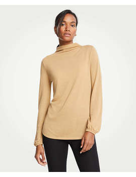 Petite Mock Neck Balloon Sleeve Knit Top by Ann Taylor