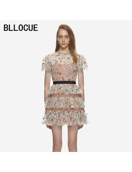 Bllocue Self Portrait Dress 2018 Runway Cute Women Mesh Floral Embroidery Ball Gown Mini Dress Elagant Cake Party Dresses by Bllocue