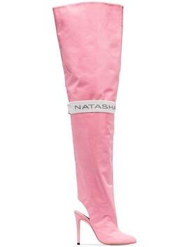 Pink 110 Thigh High Patent Leather Boots by Natasha Zinko