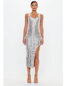Peace + Love Silver Embellished Midi Dress by Missguided