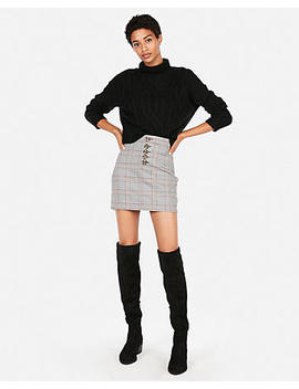 High Waisted Windowpane Plaid Mini Skirt by Express