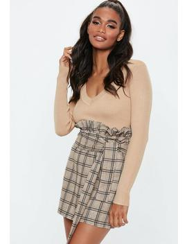 Brown Heritage Stripe Paperbag Mini Skirt by Missguided