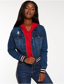 Denim Bomber Jacket by Charlotte Russe