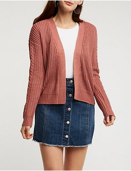 Lace Up Detail Open Front Cardigan by Charlotte Russe