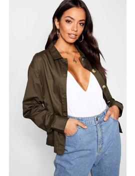 Mock Horn Button Front Utility Jacket by Boohoo