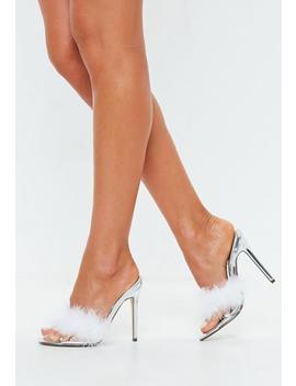 Silver Clear Feather Detail Heeled Mules by Missguided