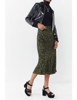 Uo Leopard Print Satin Midi Skirt by Urban Outfitters
