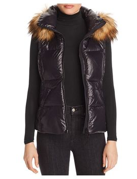 Faux Fur Trim Puffer Vest   100 Percents Exclusive by Aqua