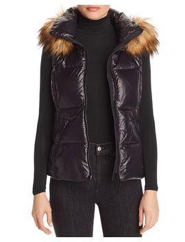 Faux Fur Trim Puffer Vest   100 Percents Exclusive by Aqua