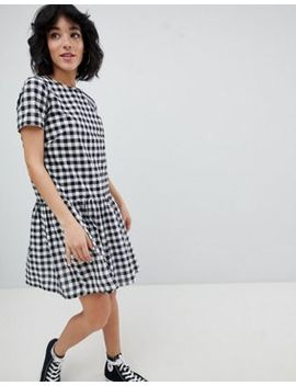 Daisy Street Gingham Dress With Pep Hem by Daisy Street