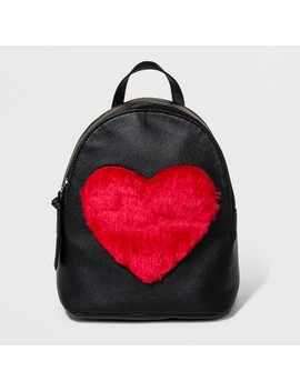 T Shirt & Jeans Faux Fur Heart Backpack   Black by T Shirt & Jeans