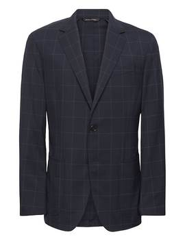 Standard Navy Smart Weight Performance Wool Blend Suit Jacket by Banana Repbulic