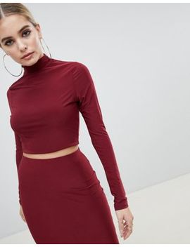 Fashionkilla High Neck Crop Top Two Piece In Berry by Fashionkilla