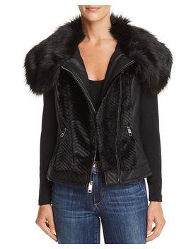 Posh Faux Fur & Faux Leather Vest by Guess