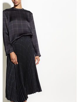 Grid Plaid Drape Pleated Skirt by Vince