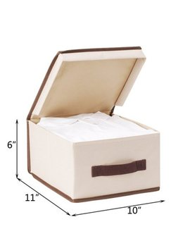 Storage Maniac Medium Polyester Canvas Storage Box With Lid, Foldable Storage Bins, Pack Of 3 by Storage Maniac