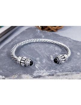 Southwestern 925 Sterling Silver Twisted Braid Onyx Torque Cuff Bracelet 30g Vintage by Etsy