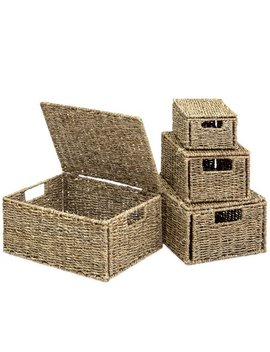 Best Choice Products Set Of 4 Multi Purpose Woven Seagrass Storage Box Baskets For Home Decor, Organization   Natural by Best Choice Products