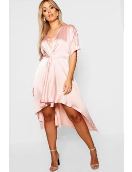 Plus Satin Bust Front Midi Dress by Boohoo