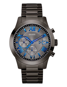 Men's Gunmetal Stainless Steel Bracelet Watch 45mm U0668 G2 by Guess
