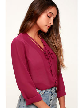 Style Education Magenta Blouse by Lulus