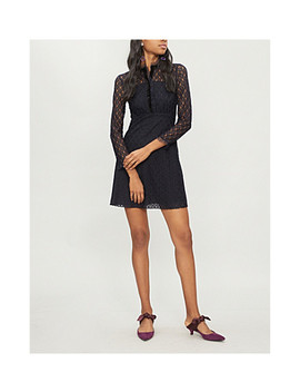 Velvet Trim Lace Dress by Sandro