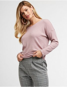 Waffled Knit Caged Back Top by Charlotte Russe
