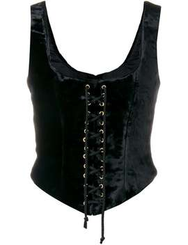Lace Up Fitted Top by Moschino Vintage