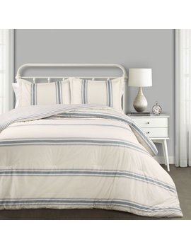 Farmhouse Stripe Comforter Blue 3 Pc Set King by Lush Decor