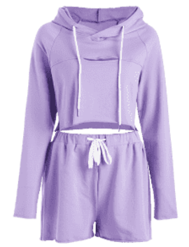 Cropped Cut Out Hoodie Set   Purple M by Zaful